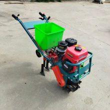 两行手推式小型播种机 汽油链轨式耘播机 汽油单行玉米施肥播种机