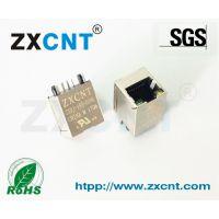 ZXCNT品牌产品RJ45网口百兆以太网滤波器插座,8P8C立式带灯接口ZXRJ-185-01NL