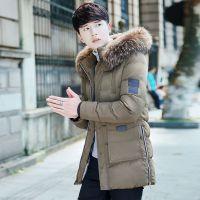 厂家直销秋季新款男式棉衣 青少年韩版加厚中长款连帽毛领棉服