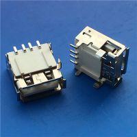 USB 2.0母座AF90度四脚插板DIP+SMT4P直脚卷边 白色胶芯