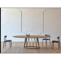 定制 现代简约椭圆形个性复古怀旧做旧餐饮店餐桌