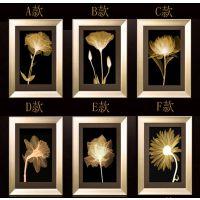 厂家直销 现代客厅三联装饰画有框画 酒店宾馆金色年华挂画 爆款 PS发泡画框