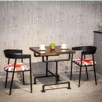 麦德嘉供应MDJ-TYZ05餐桌椅LOFT美式乡村餐厅实木桌椅组合铁艺纯实木高档咖啡休闲桌椅