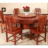 苏作花梨木家具刺猬紫檀餐桌椅组合7件套名琢世家