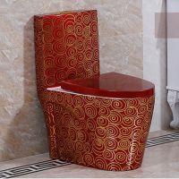 提供OEM家用彩色华丽连体虹吸式陶瓷马桶座便器