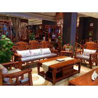 品牌古典刺猬紫檀凤鸣沙发113六件套图片价格烫蜡工艺