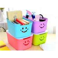 雷力供应小号笑脸塑料收纳箱 收纳盒 置物筐 桌面杂物书籍叠加整理箱