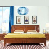 现代简约北欧橡木双人床高箱大抽屉储物床
