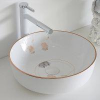 厂家卫浴陶瓷台面清新高温彩金酒店家用耐用洗手盆