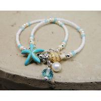 欧美流行饰品 海螺米珠女士脚部配件 时尚潮流波西米亚沙滩脚链