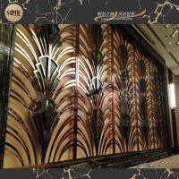 厂家酒店别墅装饰简约格子镂空屏风隔断 不锈钢304落地屏风类