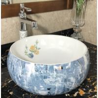 卫浴直销陶瓷欧式绿色彩色台面无孔圆形贴花洗手盆