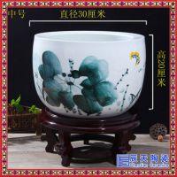 景德镇陶瓷器手绘花盆客厅摆件 陶瓷风水鱼缸聚宝盆