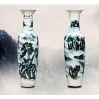 墨绿山水大花瓶 西安开业花瓶 超大特大陶瓷花瓶摆件支撑看货 未央区花瓶批发