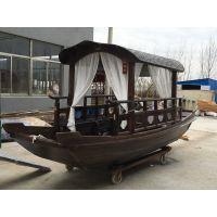 桂满陇西湖船宴定制木船 仿古餐饮船 酒店装饰乌篷船 观光表演船