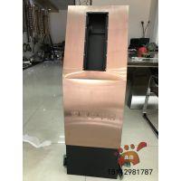 玫瑰金不锈钢门口机立柱|小区门禁刷卡机立柱个性设计的抗指纹效果