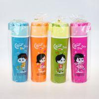 厂家直销482启乐时尚运动水杯(350ML)隐形提把便携双层优质塑料防烫趣味卡通儿童水杯