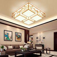 新中式吸顶灯客厅正方形中国风灯具现代布艺餐厅卧室灯