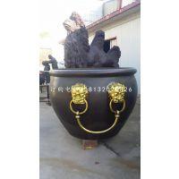 仿古铜水缸,广场铜水缸雕塑