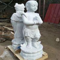 汉白玉石雕送子观音 童男童女招财童子一对 门口迎宾人物雕塑