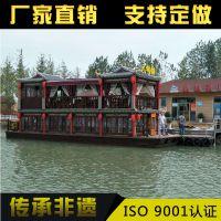 辽阳木船厂直销16米画舫船 旅游观光船 水上餐饮船服务类船出售