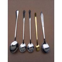 304不锈钢方头冰勺餐具创意镀金不锈钢勺子蜂蜜搅拌勺咖啡勺