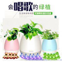 厂家直销新品智能蓝牙植物花盆音箱触碰感应礼品绿色音乐盆栽可弹琴唱歌潮