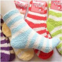珊瑚绒儿童袜彩条童袜 舒适睡眠袜 超柔保暖袜 儿童珊瑚绒厚袜子