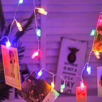 跨境专供照片墙LED夹子灯串彩灯电池灯照片夹子圣诞婚庆节日装饰