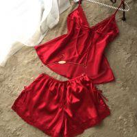 欧美夏季新款纯色V领性感居家睡衣 蕾丝真丝吊带睡裙套装LB110149
