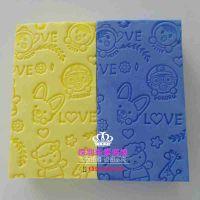 厂家直销卡通压纹PVA搓澡棉 高密度吸水沐浴清洁海绵方块