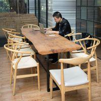 会议桌简约设计超长桌子不规则自然边商用办公桌铁艺实木洽谈桌椅