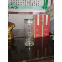 双层隔热玻璃杯男女水杯创意办公杯子带盖泡茶杯320ML可印字定制
