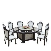 酒店订花大圆桌中式电动餐桌大圆台板式酒店火锅桌椅