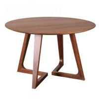 深圳餐厅家具定做胡桃色圆桌 时尚简约咖啡桌休闲洽谈桌实木桌子