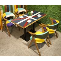 倍斯特定制美式乡村拼色防火板餐桌创意中餐烧烤店