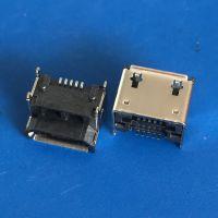 MICRO垫高3.02母座 板上前插后贴DIP+SMT 带定位柱 灰胶LCP 卷边 迈克加高3.02