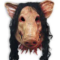 万圣节带发猪头面具化妆舞会道具电锯惊魂3猪八戒恶搞恐怖头套批