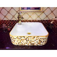 卫浴厂家直销方形彩色奢华钻石陶瓷洗手洗脸盆