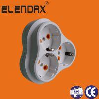 三位梅花插座 欧式电源插座 欧式圆头插座 欧式圆孔插 欧式转换插座(P8035)