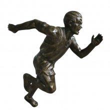 铸铜田径运动员仿真雕像玻璃钢仿铜男子短跑造型雕塑树脂校园题材跑步男队员铜塑像健身抽象人物雕塑体育馆摆