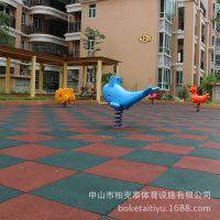 深圳花园橡胶地垫安装厂家 幼儿园环保安全地砖2.5cm绿色直批