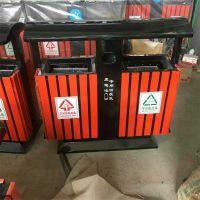 沧州志鹏供应钢木垃圾桶果皮箱环卫防腐木分类垃圾桶双桶垃圾箱室外