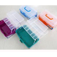 明华透明Pvc塑料561实色工具箱 美术 零件 收纳盒 美甲箱