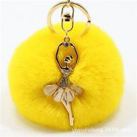 创意可爱水钻小天使汽车钥匙扣女包挂件毛绒獭兔毛球钥匙链吊坠