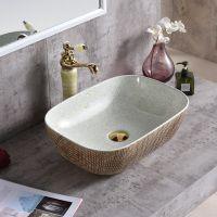 2018陶瓷新款特色方形卫浴台面彩色洗手盆洗脸盆