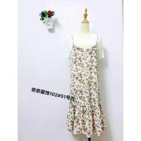 广东时尚女装碎花吊带连衣裙批发气质女装半身裙 雪纺裙十几块钱裙子批发