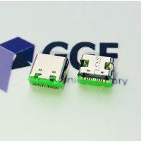TYPE C 16P板上SMT母座 四脚插板|USB3.1贴片母座 有柱C型口 绿胶颜色可定制