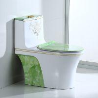 卫生间陶瓷新款特色荧光绿连体马桶座便器
