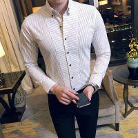 忆惜格罗 衬衫 2017秋季新品男士时尚修身型衬衫 休闲青年男式细条纹长袖衬衣尖领男装批发